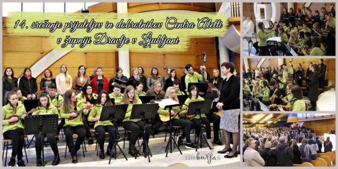 Tamburaši, vokalna skupina Grlice in komorni zbor Plejade na 14. srečanju Centra Aletti v župniji Dravlje