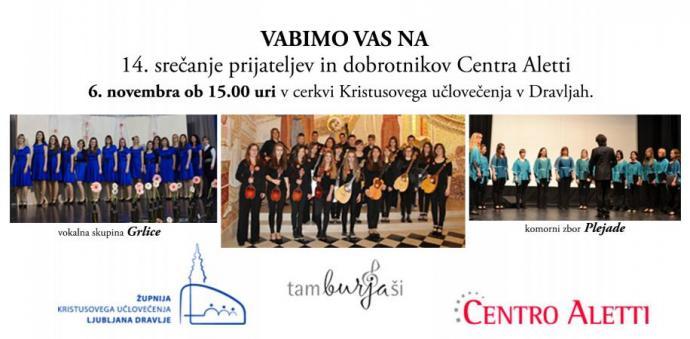 Tamburjaši, zvok tamburic na srečanju prijateljev in dobrotnikov Centra Aletti