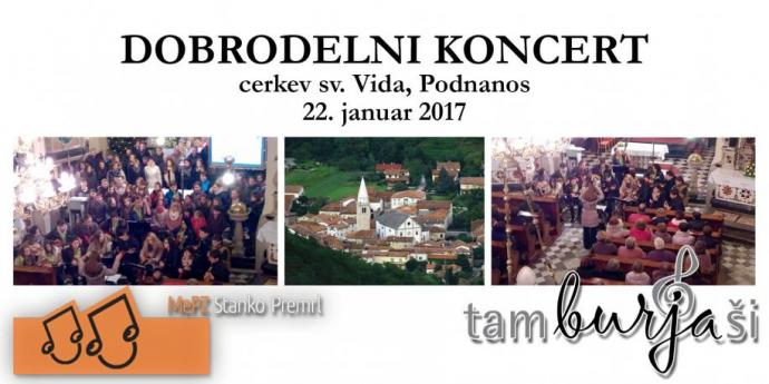 Tamburjaši na dobrodelnem koncertu v Podnanosu