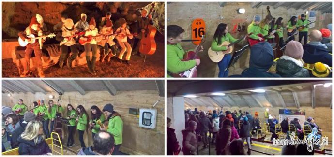 Tamburjaši igrajo na tamburice - žive jaslice v Postojnski jami